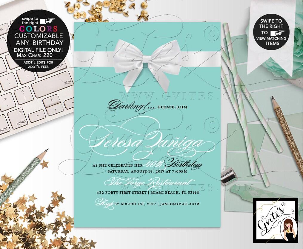 40th Birthday Invitation Breakfast At Blue Theme Printable Invites Party Audrey Hepburn DIY Digital File Only 5x7