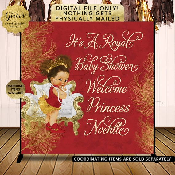 Royal Red & Gold Backdrop Baby Shower Afro Puff Girl Vintage Theme. Printable File Only! Customizable Any Event.