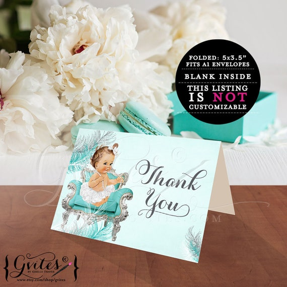 "Baby Shower Thank You Cards | Turquoise Blue White & Silver | Ribbons Bows/Diamonds Pearls Theme 5x3.5"" 2 Per/Sheet"