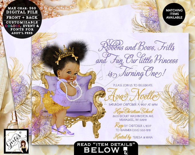 """Purple and Gold First Birthday Lavender Gold invitations Afro Puffs ethnic princess tiaras tutus diamonds Double Sided 7x5"""" Gvites"""