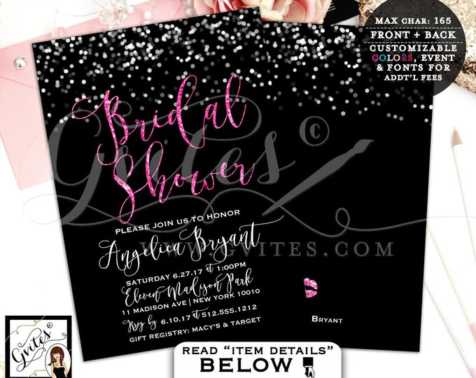 Pink and Black Bridal Shower Invites, Glitter and Silver Printable Wedding Invitations Modern Double Sided 5x7, DIY, Digital File!