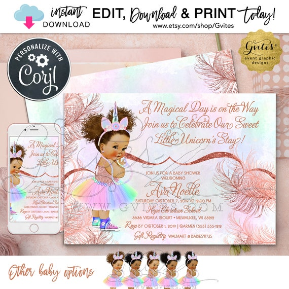 "Rose Gold Unicorn Baby Shower Invitation Vintage Theme \ Rainbow Magical Day \ Instant Download \ Edit TODAY W/Corjl \ 7x5"" Double Sided"