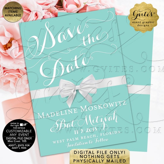 Bat Mitzvah Save The Date Card | Breakfast Theme White Bow | Printable Teen Sixteen DIY | Turquoise Blue Invitations