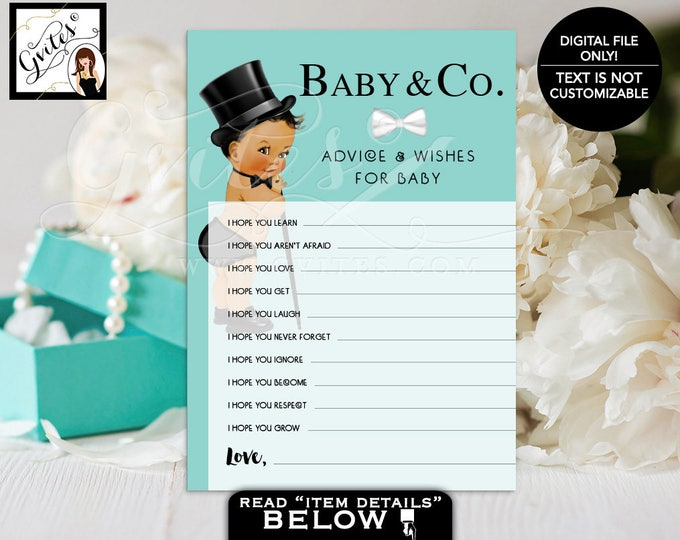 Baby and Co advice cards, baby wishes, african american boy, advice and wishes for the baby, advice cards. Digital File Only