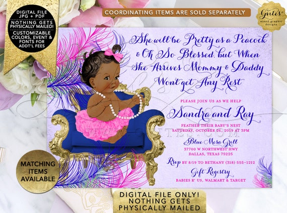 "African American She will be Pretty as a Peacock Baby Shower Invitation/ Purple Blue Pink Green Gold/ Ribbons Tutus Vintage. 7x5"" Gvites"