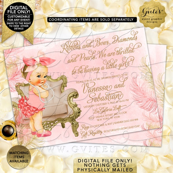 "Coral Ivory & Gold Baby Shower Invitation. Personalized Text/Baby Caucasian/African American. Big Bow Vintage Girl Pearls. 5x7"" Printable."