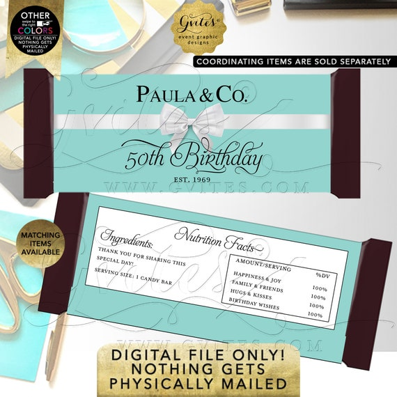 Candy Bar Wrappers 50th Birthday/ Personalized Party Favors Breakfast Customizable Text/ Colors & Fonts 2 Per/ Sheet 5.25x5.75{Satin Ribbon}