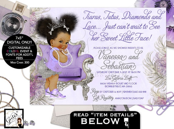 Purple Lavender and Silver baby shower invitation, princess african american baby girl, Afro Puffs, tutus tiaras pearls Gvites.