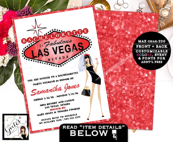 Vegas Bachelorette Party Invitation / Girls Night Out Cocktail Night