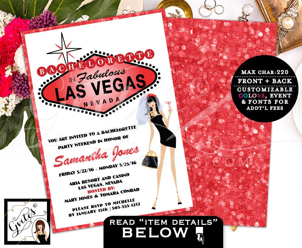 Vegas Bachelorette Party Invitation Girls Night Out Cocktail Night