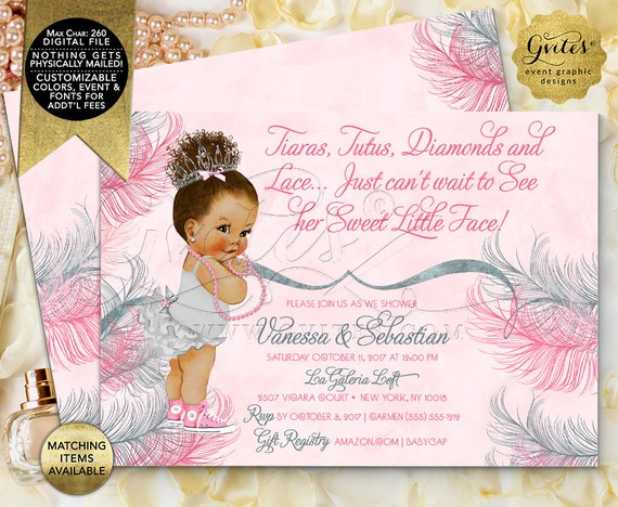 Pink & Silver Baby Shower Invitations | Tutus Tiaras Diamonds Lace | Vintage Baby Girl Ethnic Afro Bun Curly Hair - 3 Skin Tones