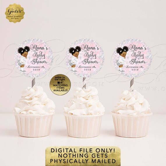 Cupcake Toppers Baby Shower Winter Theme Round Stickers. DIY, Printable File, JPG + PDF Format. 2.25x2.25/12 Per Sheet