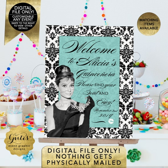Quinceanera Audrey Hepburn Welcome Signs/50th/40th/30th. Baby or Bridal Shower Printable Posters Entrance Decor. JPG + PDF