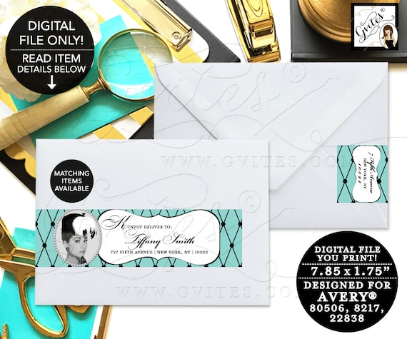 Audrey Hepburn Party Printables, Labels, Bridal Shower, Birthday, Envelopes Label, Personalized Avery® 80506, 8217, 22838. {5 Per/Sheet}