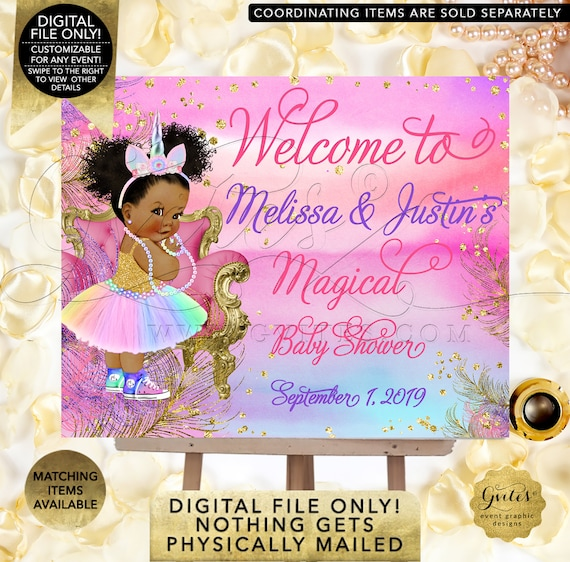 Welcome Unicorn Baby Shower Sign. Rainbow Colors/Afro Puffs Vintage Decorations. Reception Signage.