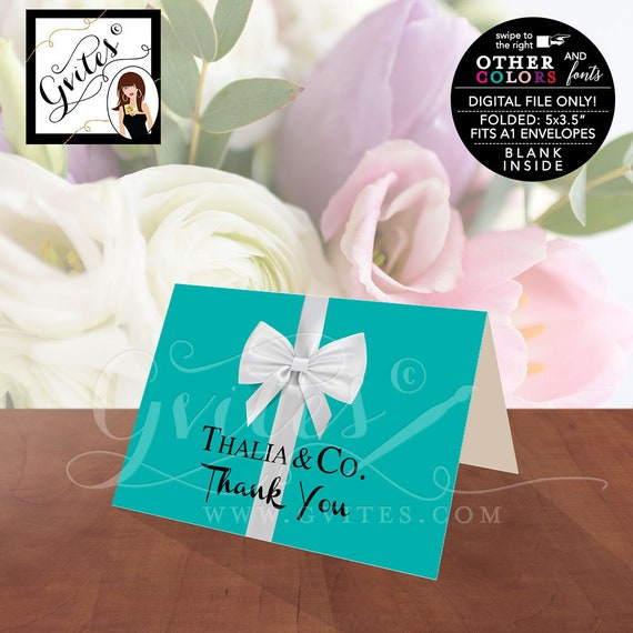 "Thank You Cards Bridal/Baby Shower. Name & Co Turquoise and White Bow. Breakfast Themed 5x3.5"" 2 Per/Sheet"