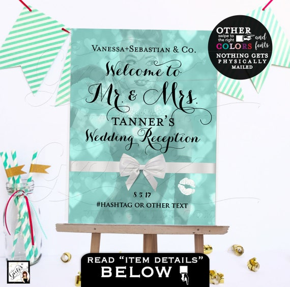Mr. and Mrs. Welcome Wedding Reception Sign/ Breakfast at Rehearsal Dinner Custom Signs/ Blue White Satin Ribbon