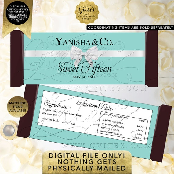 """Sweet Fifteen Candy Bar Wrappers   Personalized Party Favors Gifts   Digital PDF + JPG 2/Per Sheet 5.25x5.75"""" By Gvites"""