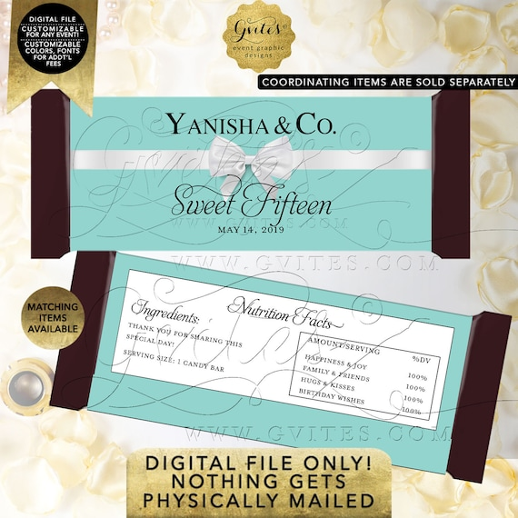 "Sweet Fifteen Candy Bar Wrappers | Personalized Party Favors Gifts | Digital PDF + JPG 2 Per Sheet 5.25x5.75"" By Gvites"