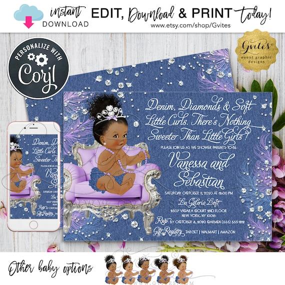 "Denim Lavender Diamonds Invitation | Princess Baby Shower Afro Bun Curly Natural Hair.  7x5"" Double Sided. Edit TODAY W/Corjl"