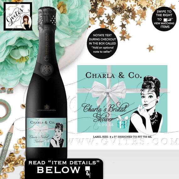 "Printable Audrey Hepburn Champagne Labels, Bridal Shower Favors, Decor, Stickers, Labels, Gifts, Digital, {4x3"" 6 Per Sheet}. Gvites"