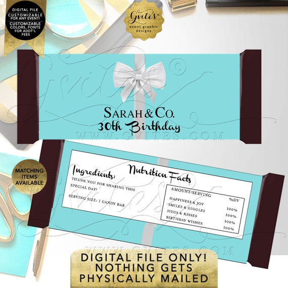 Birthday Candy Bar Wrappers Robin Egg Blue | Can be personalized for any event. Digital/DIY/JPG/PDF