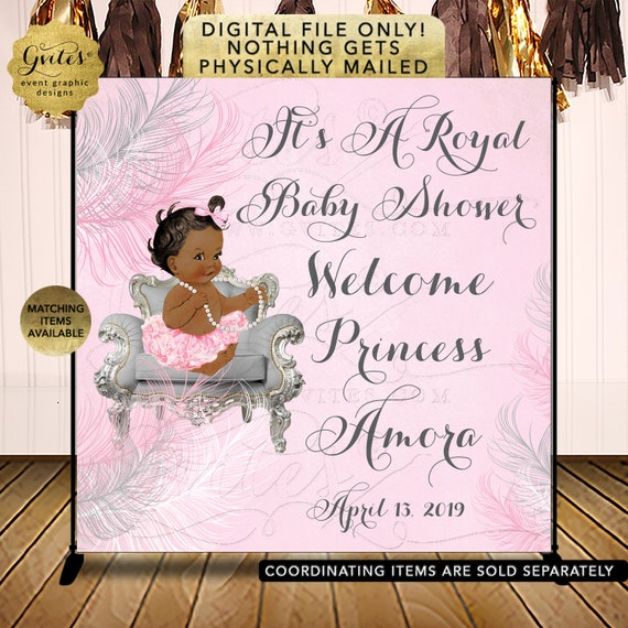 Pink & Silver Backdrop Baby Shower | African American Baby Girl | Vintage Theme | Printable/ DIY/ JPG/ PDF