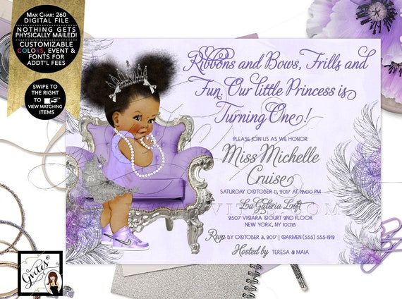 "Silver and Lavender Princess Birthday Invitation | Printable File JPG + PDF | 7x5"" | By Gvites"