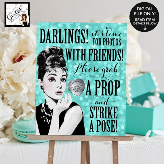 """Breakfast at Tiffany's Inspired Photo Booth Sign Audrey Hepburn Party Printable 8x10"""""""