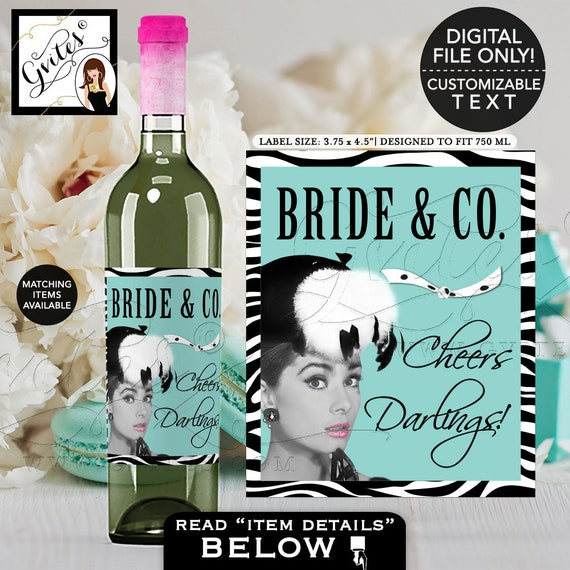"Bride and Co Wine Labels Audrey Hepburn Printable Party Decor 3.75x4.5""/ 4 Per Sheet} Gvites"