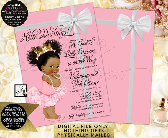 "Pink and Gold Baby Shower Princess Invitations | Afro Puffs Curly/African American/ Breakfast Themed | Printable JPG + PDF 5x7"" Double Sided"