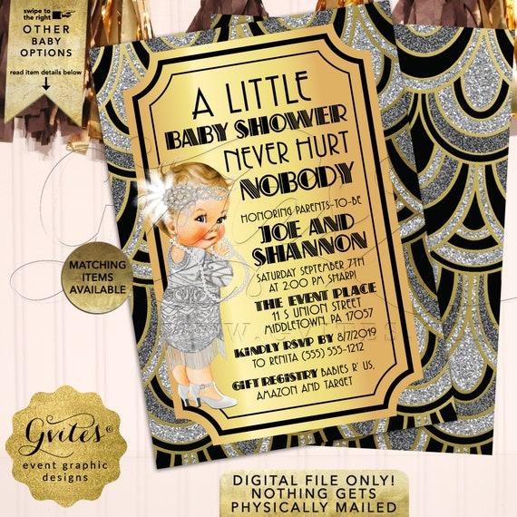 "1920s Vintage Baby Shower Girl Invitation | Customizable Any Event | Digital File Only. 5x7"" Double Sided."