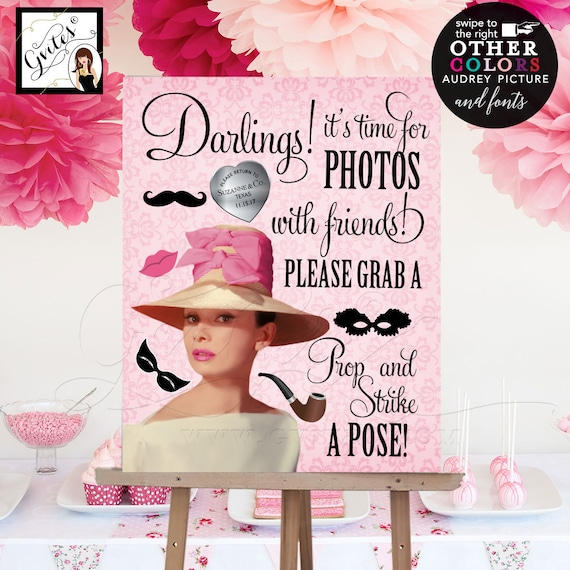 Breakfast at Bridal photo booth sign / Pink Kentucky Derby Hat Audrey Hepburn theme party props / customizable PRINTABLE Instant Download