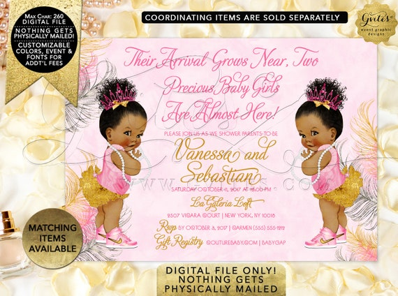 "Pink and Gold Twins Baby Shower Printable Invitation/ Personalized Invites. Digital File Only! 7x5"" JPG + PDF {Pink/ Silver/ Gold Feathers}"