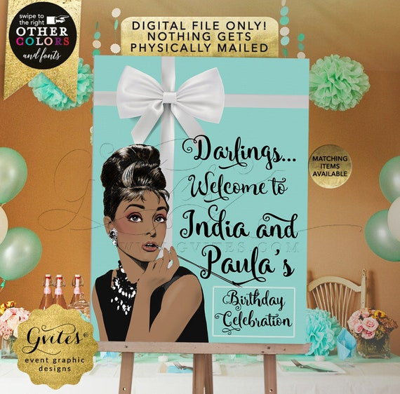 Welcome Audrey Hepburn Printable Poster Sign Birthday Celebration Decor | You Print/DIY/Digital Only!