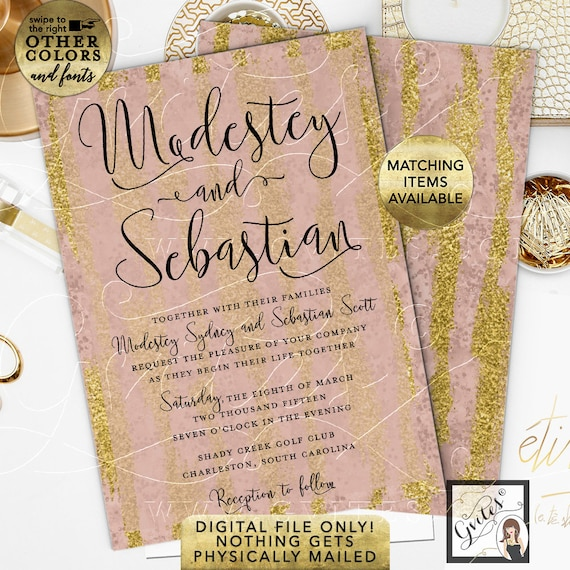 """Pink and Gold Watercolor Wedding Invitation 