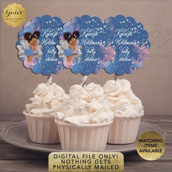 "Cupcake Toppers Denim Diamonds Pink Blue Baby Shower | 2.5x2.5""/9 Per Sheet {Avery® 08218} | Design: DDRBC-101"
