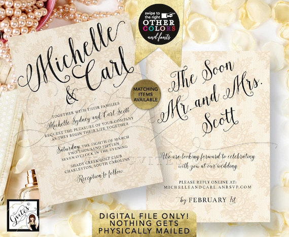 Gold Wedding Printable Invitation | Lace Ivory Beige Modern Calligraphy | Double Sided Customizable Invites