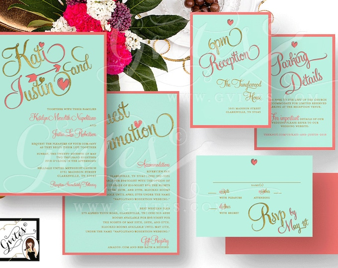 Coral and Mint Wedding Printable Invitation Set - Double Sided Invite Response Card, Reception Parking Details. Light turquoise and coral.