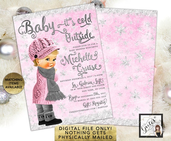 "Pink and Silver Baby it's Cold outside Winter Invites/Wonderland Vintage Baby Girl/Printable/Digital Only/JPG + PDF 5x7"" Double Sided"
