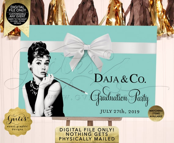 Graduation Party Audrey Hepburn Print Poster / Welcome Sign Breakfast at Name & Co Decorations / Digital/Printable/JPG/PDF/Print Yourself!