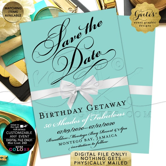 Save The Date Birthday Getaway | Turquoise Blue/ Teal & White Bow | Breakfast Theme | Printable Double Sided 5x7""