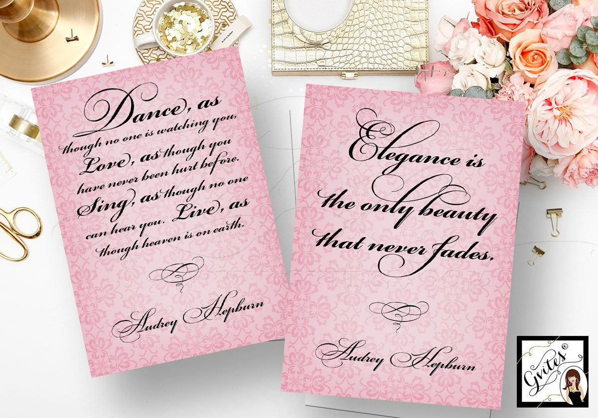 Audrey Hepburn Quotes Wall Art Quote Print Elegance Is The Only