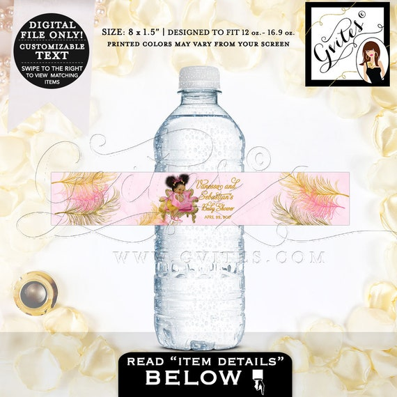 "Water Bottle Labels Pink Gold/Baby Shower African American 8.5 x 1.5""/6 Per Sheet. MINI & Standard Size Bottles {Pink/Gold Feathers}"