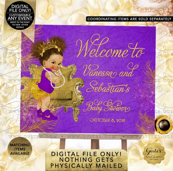 Purple & Gold Welcome Sign Baby Shower Princess African American Afro Puffs Curly | Digital JPG + PDF Design: TIACH-116 By Gvites