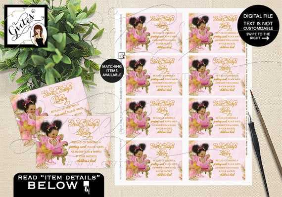 Book For Baby Pink Gold Baby Shower Tiaras Diamonds Pearls African Princess INSTANT DOWNLOAD {Design: TIACH-110} By Gvites