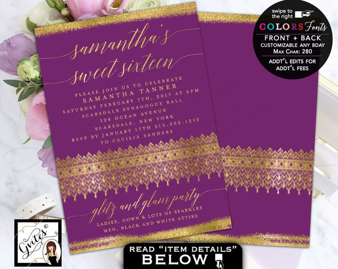 Purple and Gold Sweet 16 Invitations, Glitter Sweet 16 Glitz and Glam Invitation, mis quince, quinceanera, 5x7 double sided. Digital file.