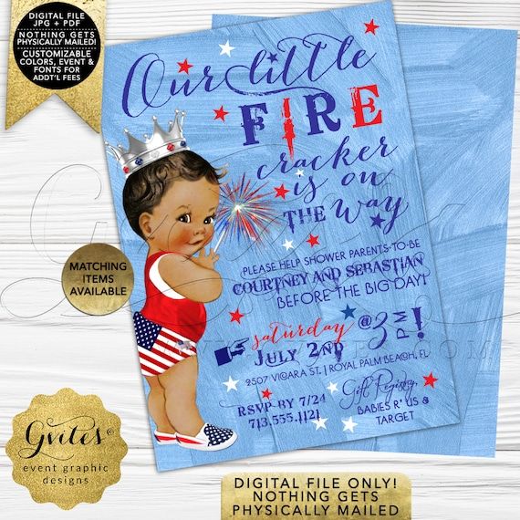 "Patriotic BOY Baby Shower Invites/ Our little fire cracker is on the way/ Vintage silver crown/ Digital/ 5x7"" Double Sided/ Gvites."
