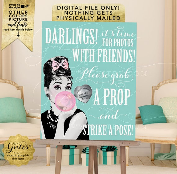 Audrey Hepburn Photo Booth Sign Bubble Gum Pink. Birthday Poster Printable Decorations/ Blue Themed Table Signs | JPG + PDF 8x10""