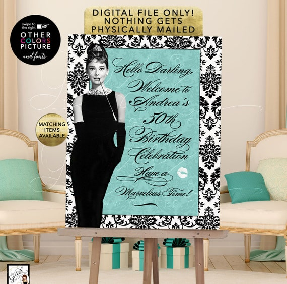 Audrey Hepburn 50th Birthday Signs Customizable Text/ Fonts/ Colors and Picture. Digital File Only! Blue Party Themed Printable.
